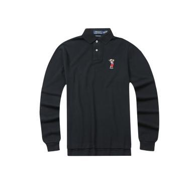 【支持購物卡】美國POLO Ralph Lauren拉夫勞倫長袖小熊標黑色修身版Polo衫
