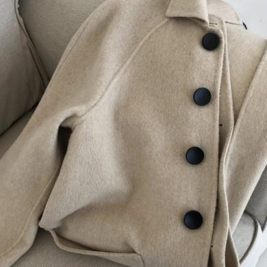姝奕反季雙面羊絨大衣秋冬2019年流行過膝中長款呢子毛呢外套女洋氣HD8298