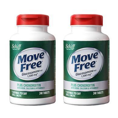 【支持购物卡】2瓶*美国Schiff旭福进口Move free氨糖软骨素加钙加维D高钙氨糖240粒    香港直邮