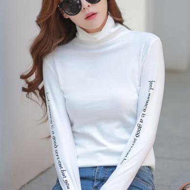 右姿 新款长袖超火t恤女白色高领内搭夏网红打底衫薄款上衣服