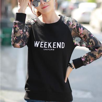 右姿 秋装新款黑色长袖t恤女宽松韩版上衣服