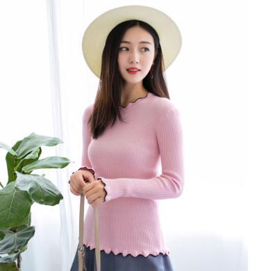百依?#36424;?新款韩版长袖短款百搭学生秋冬紧身木耳边针织衫女 4159