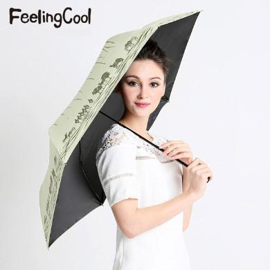 飞兰蔻 新品斑马超轻太阳伞超强防紫外线不透光黑胶遮阳伞