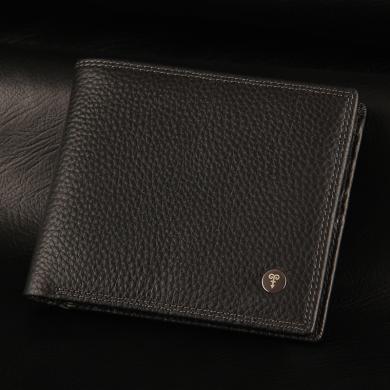 【恒源祥】男士錢包橫款錢包 頭層牛皮男士錢包  短款錢包 休閑商務真皮錢包         黑色/咖色