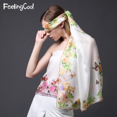 飞兰蔻 水彩花卉印花桑蚕丝真丝丝巾