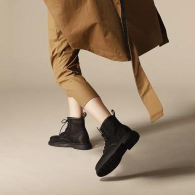 青婉田秋冬季短靴女復古英倫馬丁靴厚底女靴春秋帥氣單靴機車鞋女S17DX0590(預售25天)