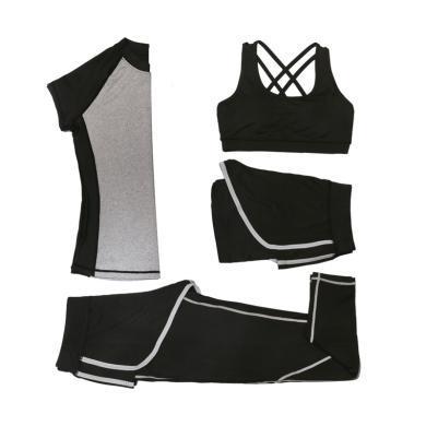 韓版夏季新款瑜伽服 女四件套戶外瑜伽健身服運動套裝