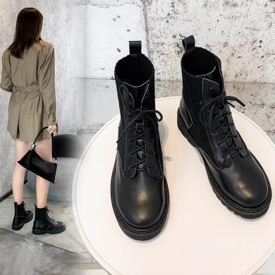 阿么馬丁靴女針織2019秋冬款英倫風帥氣增高小個子顯瘦厚底短靴潮