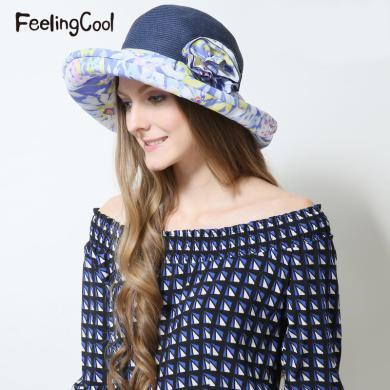 飛蘭蔻女士夏威夷花卉翻檐清新太陽帽 舒適遮陽帽 夏帽