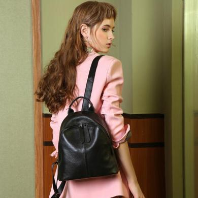 歌詩娜 真皮雙肩包新款韓版百搭時尚頭層牛皮小背包軟皮女士包包11703