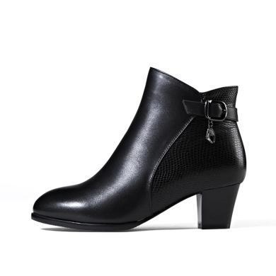 富贵鸟(FUGUINIAO)冬季女靴牛皮加绒短靴饰扣拼接短靴女鞋 G49M257CC