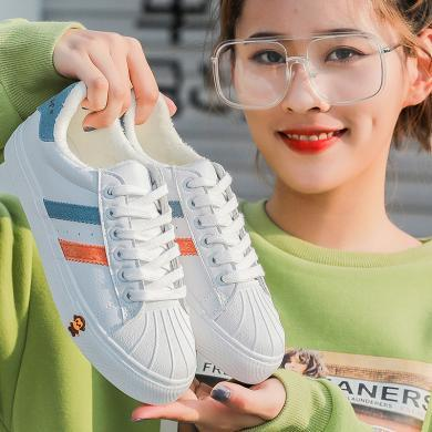 100KM小白鞋女冬季百搭韩版ulzzang原宿学生ins板鞋潮棉鞋