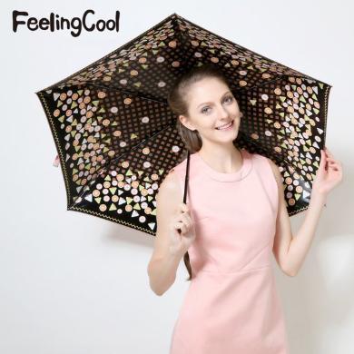 飛蘭蔻 新品傘內印花防紫外線黑膠遮陽傘炫彩糖果