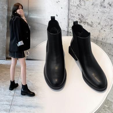 阿么2019秋冬款靴子女新款短靴平底英伦风切尔西裸靴绒里马丁靴