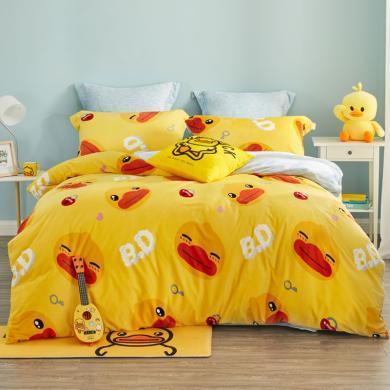 LOVO家紡 小黃鴨水晶絨保暖床品三/四件套床單被套加厚法蘭絨套件 美好時光