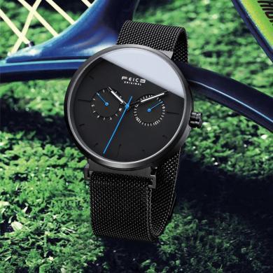 飞克超薄手表男钢带休闲防水创意学生夜光时尚潮流简约概念石英表