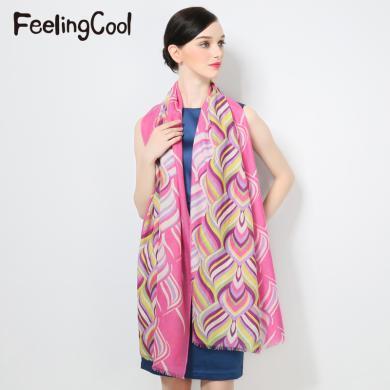 飞兰蔻新款羊毛披肩女大规格秋冬保暖围巾礼品围巾波普艺术