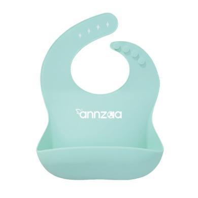安茁 兒童硅膠圍兜寶寶防水食飯兜立體圍嘴易清洗大罩衣 淺藍色