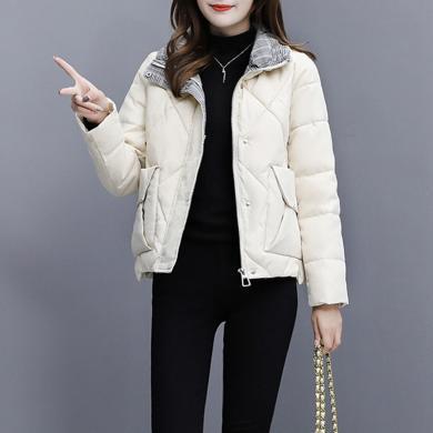 绮娑 棉服女冬季新款加绒加厚棉袄短款外套时尚棉衣百搭面包服潮