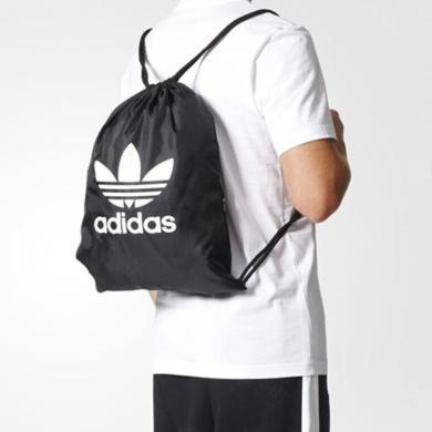 阿迪達斯adidas三葉草抽繩收納包雙肩包球包男女訓練運動休閑背包BK6726