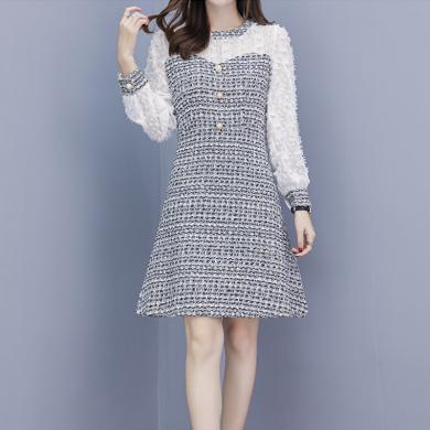绮娑 小香风连衣裙穿搭女装秋季新款韩版毛呢A字裙假两件短裙潮