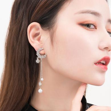 如熙 nuheel S925銀針耳飾女士貝珠耳墜長款星星月亮百搭氣質個性耳環耳釘
