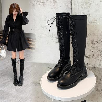 阿么長筒靴子女2019秋冬新款英倫風系帶厚底馬丁靴帥氣高筒騎士靴