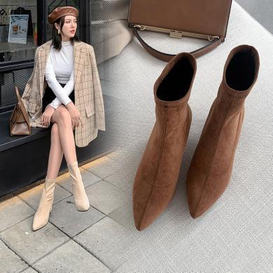 2019秋季新款欧美真皮绒面尖头袜子靴粗跟短靴女高跟弹力靴子潮