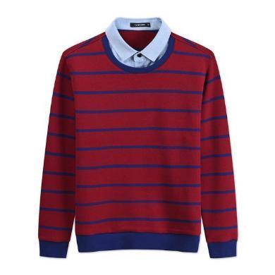 迪仕尼奴秋新品男士針織長袖T恤條紋假兩件牛津領保暖修身上衣0105