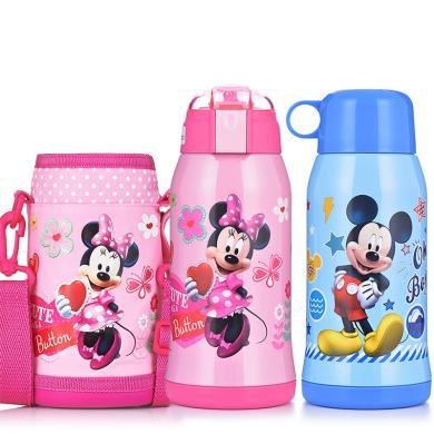 迪士尼兒童保溫杯帶吸管寶寶水壺不銹鋼杯子幼兒園寶寶兩用防摔水杯
