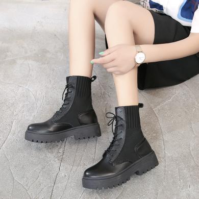 新款针织拼接马丁靴女时尚袜筒短靴女机车靴MN13737