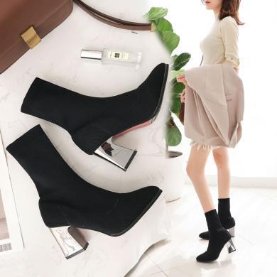 新款女鞋歐美尖頭粗跟短靴女靴針織毛線靴瘦腿襪MN-mn981