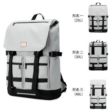 香炫兒(XIASUAR)潮流雙肩包可擴容休閑黑色大容量背包旅行包男女多功能登山包帆布書包卷蓋旅行背包