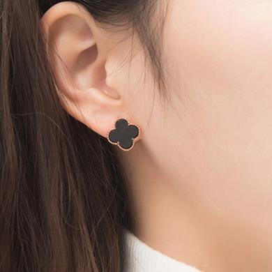 如熙 nuheel  S925銀耳飾 18K玫瑰金飾品四葉草黑瑪瑙耳環耳釘