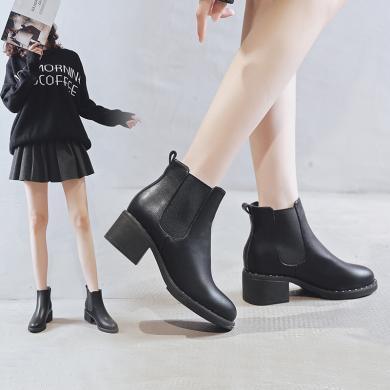 阿么短靴女2019新款加絨簡約圓頭女靴英倫風鉚釘彈力粗跟切爾西靴