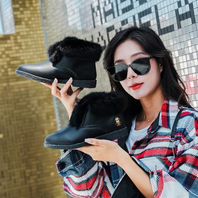 100KM?#23578;?#29492; 低帮短靴子女新款韩版平底雪地靴毛毛边百搭棉鞋潮