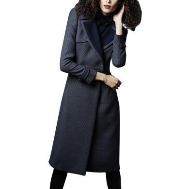 設計感小眾輕熟呢子大衣女2019秋冬裝新款流行修身中長款毛呢外套