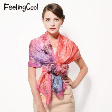 飛蘭蔻 絲巾女士絲巾長款絲巾雪紡數碼印花絲巾圍巾長巾
