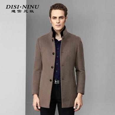 迪仕尼奴冬季新品男中長款毛呢時尚商務修身大衣青年外套8357C
