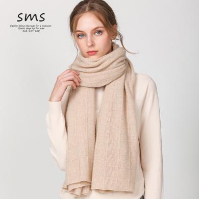 SMS方块纹经典纯色针织羊毛围巾披肩秋冬季加厚保暖女士羊绒围脖