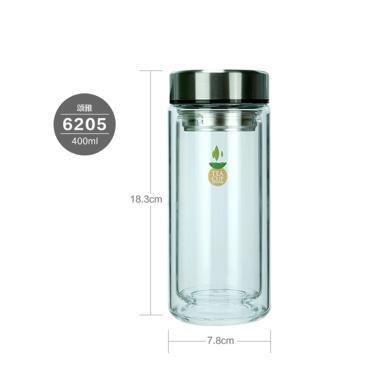 茶花頌雅玻璃濾茶杯400ML?7.8*18.3
