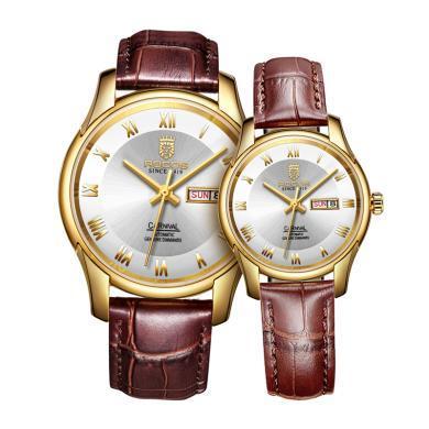 雷克斯正品時尚新款情侶手表一對表全自動機械表男真皮帶女表防水