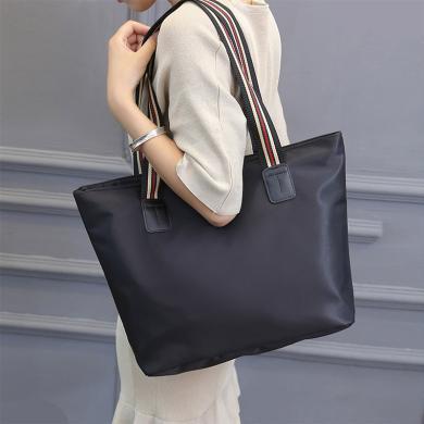 新款尼龙彩带单肩大包包休闲时?#20449;?#21253;百搭时装包托特女包N779