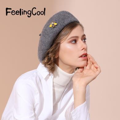 FeelingCool帽子女新款秋冬英倫時尚韓版百搭畫家帽羊毛貝雷帽女