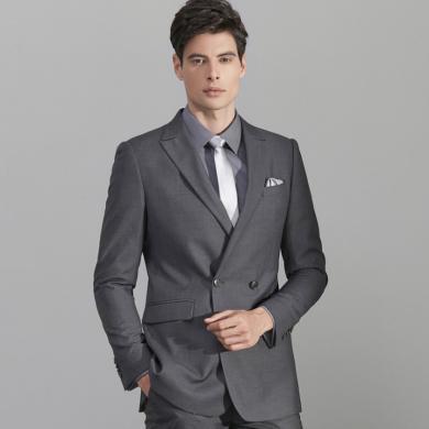 艾梵之家 商务修身一粒双排扣西服套装男士西装外?#23383;?#19994;装EVXF180