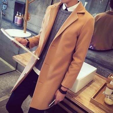 搭歌2019秋冬新款潮男士中長款風衣男韓版修身呢子外套呢大衣男CMftsq