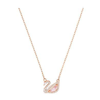 【支持购物卡】Swarovski施华洛世奇 DAZZLING SWAN 女士浪漫胭脂粉水晶天鹅锁骨项链 38cm 粉金色
