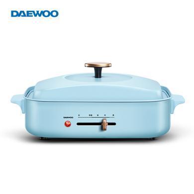 大宇(DAEWOO)S9 電火鍋多功能鍋料理鍋電燒烤爐妙廚鍋不粘鍋 卡其藍