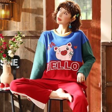 俞兆林 新款可愛豬豬款女睡衣女秋季睡衣 家居服套裝 舒適睡衣 睡衣家居服 可外穿家居服QT8117
