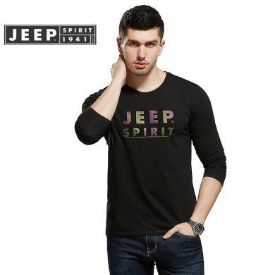 JEEP/吉普新品男士長袖T恤圓領印花棉質寬松大碼男休閑長袖T恤衫305006X